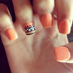 Peach tribal accent nails nail art design- love. Obsession.