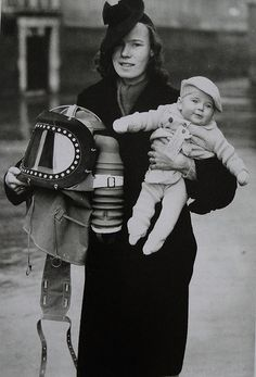 Gas mask for the baby - This is a British design allowing you to place the baby in the capsuleand then pump air in through the filter.