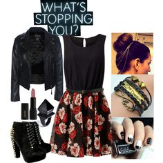 A fashion look from January 2015 featuring skater dresses, biker jackets and black lace up booties. Browse and shop related looks. Lace Up Booties, Skater Dress, Fashion Looks, Booty, Macabre, Concert, Polyvore, Gadgets, Shopping