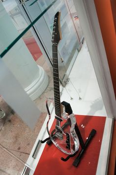 a Lucite Lux® guitar on display at our 75th anniversary event.