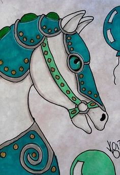 "Aceo Original ""CAROUSEL CLASSIC TEAL HORSE"" pencil/ink ON EBAY"