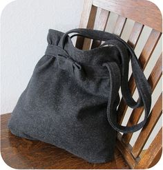Belted Tote in Grey Melton Wool | Flickr - Photo Sharing!