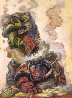 Warhammer 40k Salamanders Space Marine vs. Word Bearers Chaos Space Marine