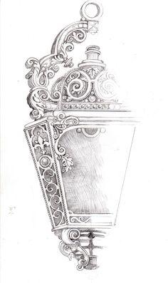 lamp-sketch by Marina Bychkova Lamp Tattoo, Lantern Tattoo, Light Tattoo, Street Lamp, Enchanted Doll, New Tattoos, Life Tattoos, Tatoos, Bible Art