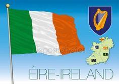 Bandierina dell'Irlanda con mappe e bandiere regionali, Eire