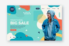 Abstract sales landing page with photo Vector Youtube Banner Design, Web Banner Design, Homepage Design, Web Design Trends, Creative Poster Design, Creative Posters, Business Illustration, Graphic Illustration, Licence Lea
