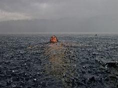 Swimming in the rain.