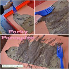 Forky Porcupine Craft also: hedgehog Preschool Camping Activities, Camping Crafts, Preschool Activities, Easy Crafts For Kids, Toddler Crafts, Art For Kids, Forest Animals, Woodland Animals, Forest Crafts