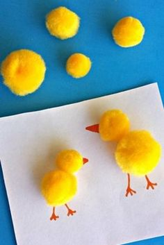 Make these adorable pom pom chicks!   31 Unexpected Ways To Celebrate Easter With Kiddos