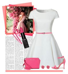 """""""Pretty in Pink"""" by moosegodstiel ❤ liked on Polyvore featuring Glamorous, Giordano Frangipani, Shoe Republic LA, Michael Kors, Marc by Marc Jacobs, Pink, feminine, whitedress and fashionset"""