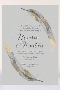 Dipped feathers foil-pressed wedding invitation by Pistols via Minted Silver Wedding Invitations, Wedding Invitation Design, Wedding Stationary, Wedding Paper, Wedding Cards, Letterpress Invitations, Gold Invitations, Invites, Invitation Kits