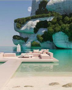 Best Vacations, Vacation Trips, Vacation Spots, 3d Fantasy, Destination Voyage, Retro Futuristic, Futuristic Design, Interior Architecture, Interior Design