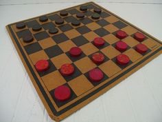 Vintage Aged Well Worn Red & Black Paint Wooden Checkers Collection of 25 Pieces - Retro Game Equipment to Repurpose - Man Cave Bar Decor $27.00 by DivineOrders