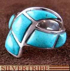 Southwest Turquoise Inlay Silver Ring Jewelry GS56189