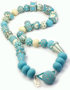 Skywriter Lampwork Glass Bead Necklace MADE TO by hippkittybeads, $245.88