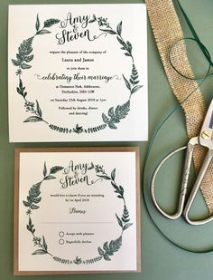 Hessian and forest green ribbon. Beautiful wedding stationery lovingly made and designed in the UK. We would love to hear from you to discuss your requirements Shine Wedding Invitations, Botanical Wedding Invitations, Beautiful Wedding Invitations, Wedding Invitation Design, Wedding Stationery, Wedding Wishes, Elegant Wedding, Trendy Wedding, Rustic Wedding