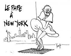 Pierre Kroll  (2015-09-26)  Le Pape à New York Dessin du jour