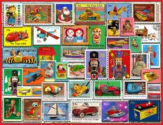 Designer Lewis T. Johnson takes us down Memory Lane with this collection of vintage tin toys printed on postage stamps. Raggedy Ann & Andy, nutcrackers and beautiful dolls are also among the selection offered on this piece puzzle with a finished size of x Jigsaw Puzzle Glue, 500 Piece Jigsaw Puzzles, Christmas Puzzle, Christmas Toys, Raggedy Ann And Andy, Snowy Day, Vintage Tins, Barn Quilts, Tin Toys
