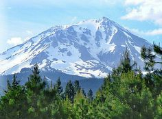 Here is a picture of Mount Shasta that I took with my parent's camera from a train.