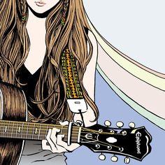 「ギター少女の新しい絵、また描いたよ。」