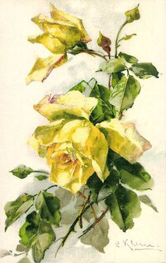 yellow roses for decoupage Art Vintage, Vintage Flowers, Watercolor Flowers, Watercolor Art, Victorian Flowers, China Painting, Arte Floral, Floral Illustrations, Flower Pictures
