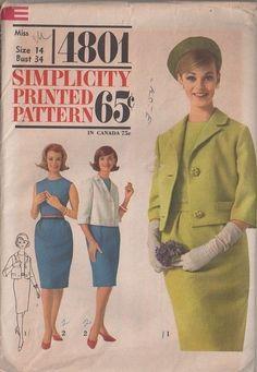 MOMSPatterns Vintage Sewing Patterns - Simplicity 4801 Vintage 60's Sewing Pattern DELIGHTFUL Tippi Hedren in The Birds Sleeveless Sheath Dress, Chanel Style Suit Jacket Size 14