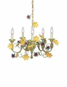 Five Arm Multi Leaf and Flower Chandelier  $318