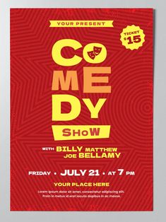 Comedy Show Poster Template AI, EPS Poster Templates, Comedy Show, Lorem Ipsum, Movie Posters, Grief, Film Poster, Billboard, Film Posters