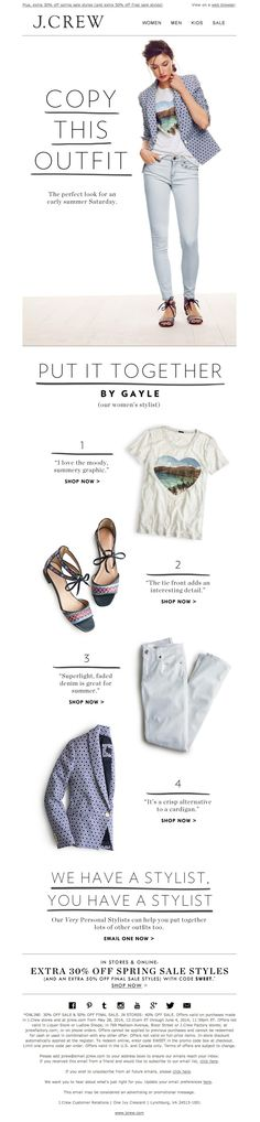 #newsletter J.Crew 06.2014 The T-shirt, the jeans, the sandals, the blazer