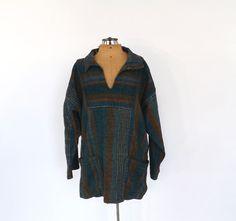 Vintage 90s Isle of Skye Smocks Poncho Striped Southwestern Baja Pullover Beach Tunic Sweater Outerwear Boho Hippie SoCal Grunge Top
