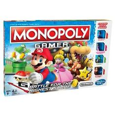 It's the Monopoly game with a Nintendo twist as it joins forces with beloved Nintendo video game characters. Instead of standard Monopoly tokens, the game features Super Mario characters, each with their own special powers within gameplay. Play as Mario, Princess Peach, Yoshi, or Donkey Kong. Finish the game by defeating Bowser at the end! It's not just about money in this game; players earn points by buying Properties, collecting Coins, and beating Bosses. The player with the highest...