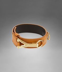 YSL Chyc Bracelet in Chesnut Textured Leather Cuffs