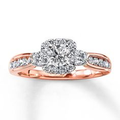 Diamond Engagement Ring 1 ct tw Round-cut 14K Rose Gold, loving the rose gold with white gold. so clean and sharp looking