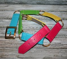 Women Vintage Belt Mod 80s Belt 1980s Belt Leather Size Large Belt Colorblock Belt Color Block Rainbow Belt 80s Fashion Accessories
