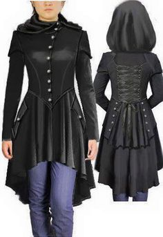 Hooded Victorian Coat by Amber Middaugh. I would totally rock a coat that looks like this. Costume Steampunk, Steampunk Fashion, Gothic Fashion, Steampunk Coat, Steampunk Vetements, Mode Cyberpunk, Victorian Coat, Gothic Outfits, Victorian Steampunk