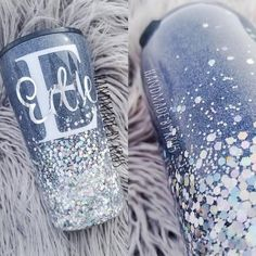 Any color with silver chunky ombre tumbler. 20 and ombre glitter tumbler Glitter Tumblers, Glitter Cups, Tumbler Cups, Custom Tumblers, A Boutique, Cricut Ideas, Epoxy, Circuit, Etsy Store