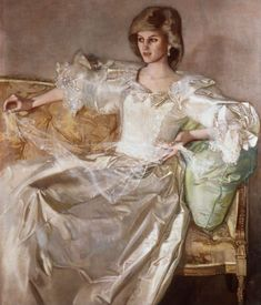 A portrait of Diana Princess of Wales, by artist John Ward that portrays the Princess in her wedding dress, was completed in 1984 and was hung at Kensington until the death of the Princess in July 1997.