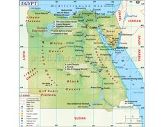 Egypt Map - Explore map of Egypt, a transcontinental country located in North Africa. Egypt is bordered by Libya to the west, the Sudan in south and the Gaza Strip and Israel to the east. Egypt Country, Country Maps, Desert Sahara, Teaching 6th Grade, Egypt Map, Site Archéologique, Book Of The Dead, Nile River, Giza