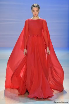 georges hobeika fall 2014 2015 couture red gown cape