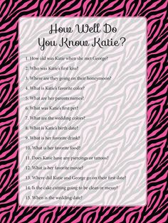 Bachelorette Party Games Custom Zebra Print DIY by CowPrintDesigns, $7.00