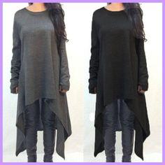 Winter Sweater Dress Vestidos 2017 Women Ladies Knitted Casual Long Sleeve  O-neck Asymmetric Hem c66dec6486f