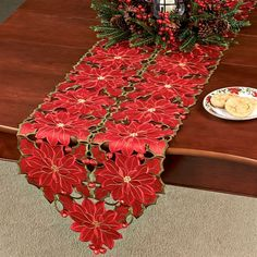 Christmas Poinsettia 72 Inch Long Table Runner pertaining to measurements 2000 X 2000 Red Poinsettia Table Runner - Just a small grease fire can develop in Snowman Decorations, Christmas Decorations, Holiday Decor, Dining Table Runners, Christmas Tree On Table, Christmas Poinsettia, Ornament Tutorial, Diy Crafts, Tablerunners