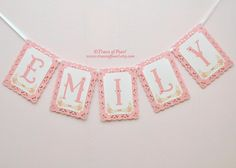 Personalized Name Banner / Garland / Bunting - for Garden Tea Party Decoration, Photography Props, First Birthday Party, Girl Room Decor