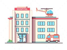 Hospital building flat style. Ambulance and helicopter, health and care, aid and doctor. Vector illustrationVector files, fully ed