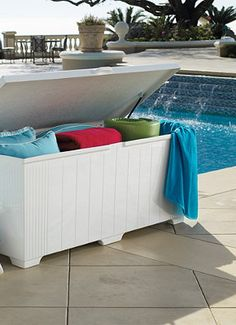 Patio Storage Chest - Pool Storage Chests - Outdoor Trash Can - Frontgate Pool Float Storage, Patio Storage, Outdoor Storage, Poolside Furniture, Outdoor Furniture, Furniture Ideas, Luxury Home Decor, Luxury Homes, Pool Accessories