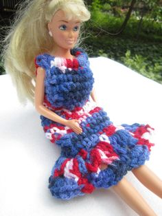 Barbie Patriotic Dress in Red White and by crochetedbycharlene, $10.00
