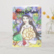 Smiling Mermaid Birthday Greeting Card
