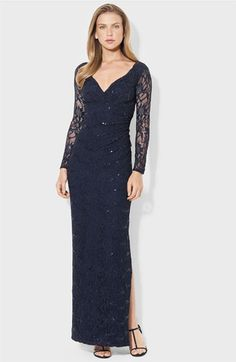 Lauren Ralph Lauren Illusion Sleeve Lace Gown available at #Nordstrom
