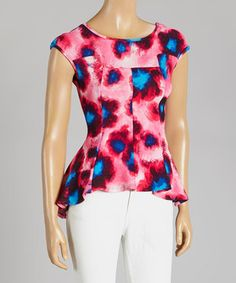 This Fuchsia Floral Peplum Top by Adrienne is perfect! #zulilyfinds