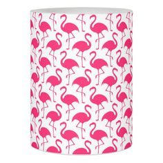Trendy Pink Flamingo Pattern Flameless Candle